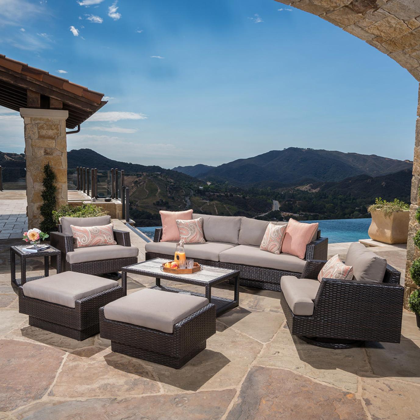 Portofino Comfort 8pc Motion Club Seating Set in Espresso Taupe ...