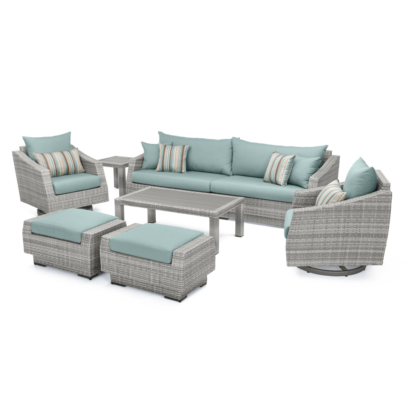 Cannes™ Deluxe 8pc Sofa & Club Chair Set - Bliss Blue