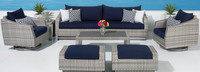 Cannes™ Deluxe 8 Piece Sofa & Club Chair Set - Blue