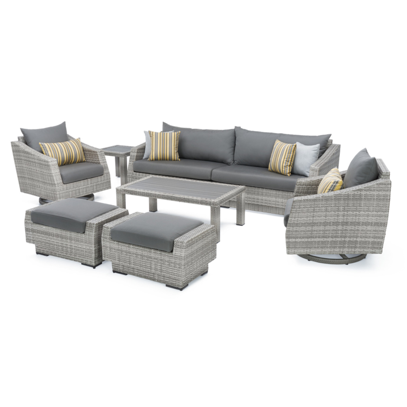 Cannes Deluxe 8pc Sofa Amp Club Chair Set Charcoal Grey