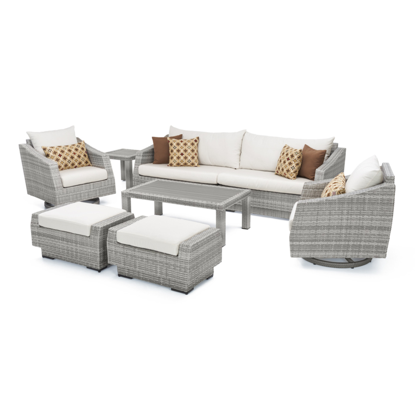 Cannes™ Deluxe 8pc Sofa & Club Chair Set - Moroccan Cream