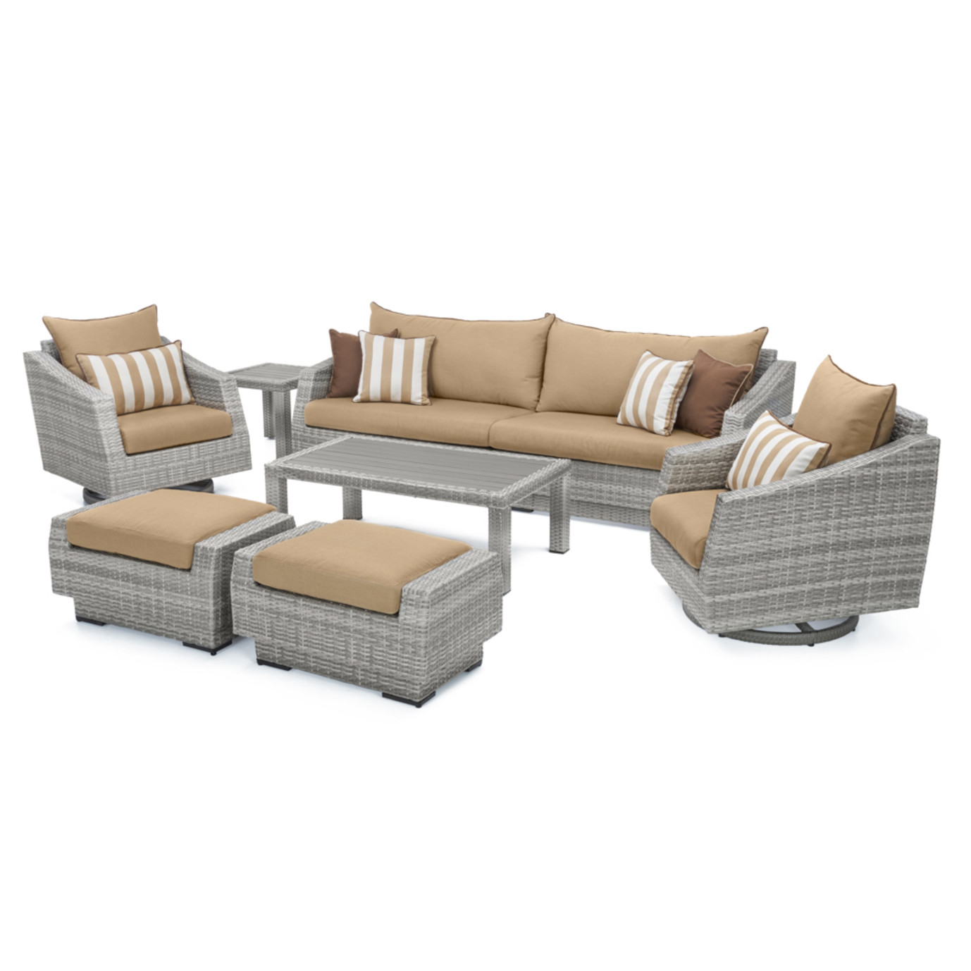 Cannes™ Deluxe 8 Piece Sofa & Club Chair Set - Maxim Beige