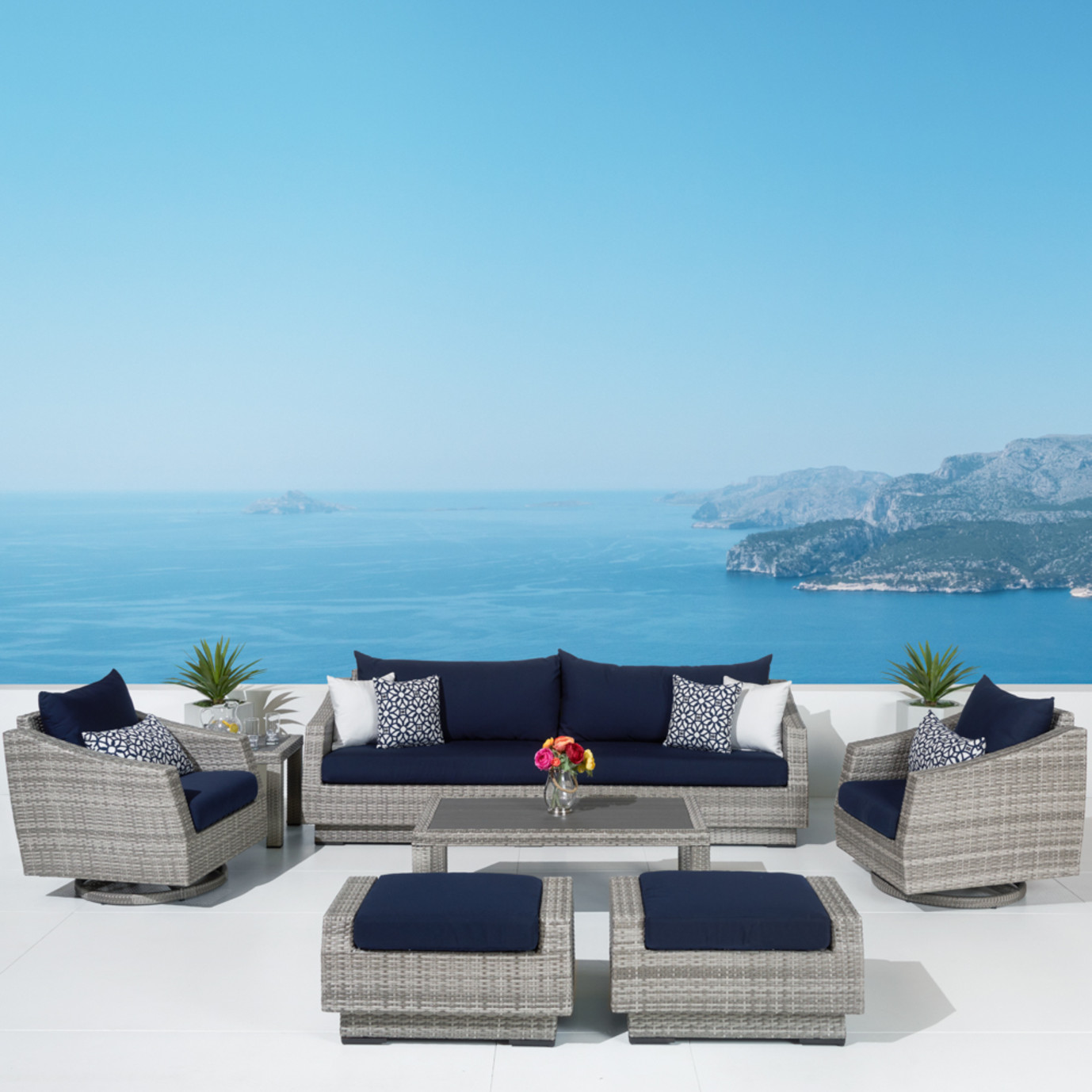 Cannes™ Deluxe 8pc Sofa & Club Chair Set - Navy Blue