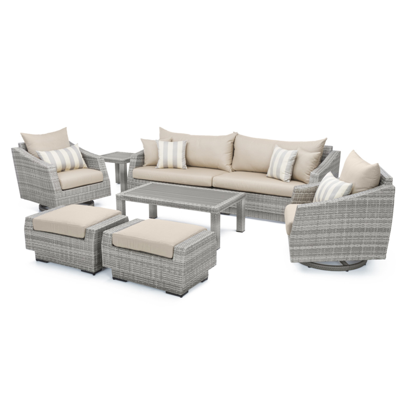 Cannes™ Deluxe 8pc Sofa & Club Chair Set - Slate Grey