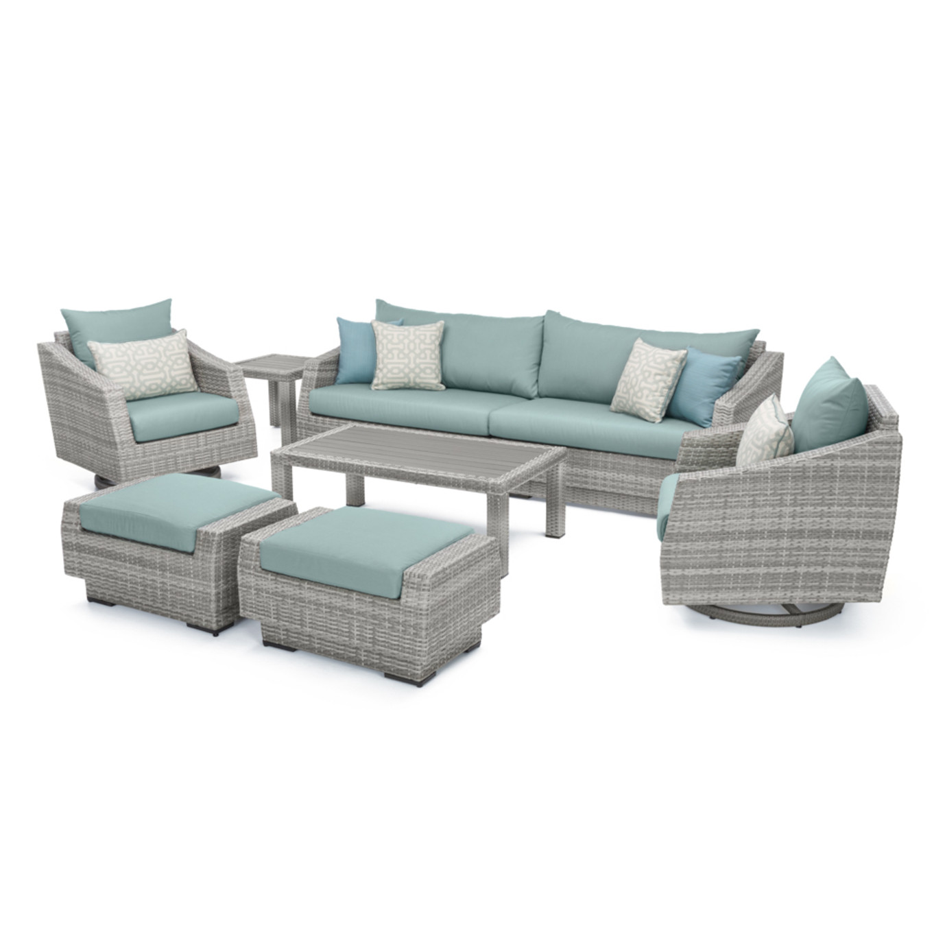 Cannes™ Deluxe 8pc Sofa & Club Chair Set - Spa Blue