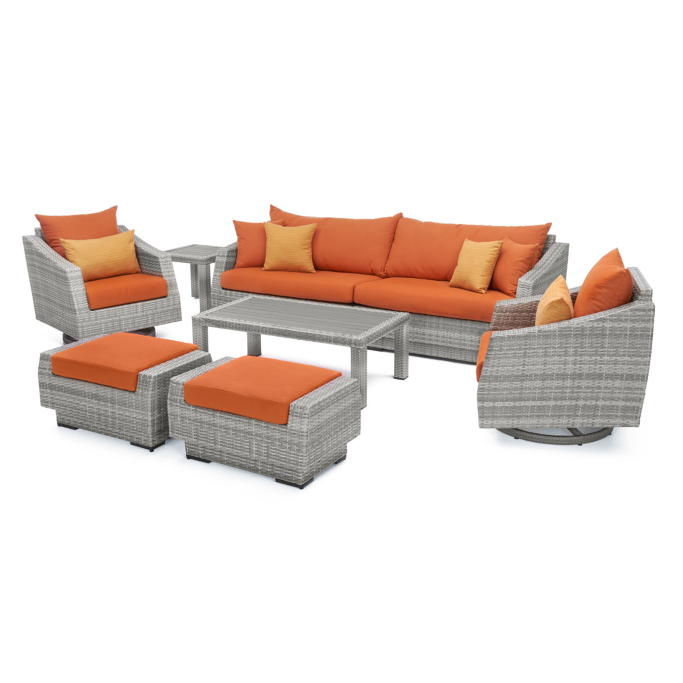 Cannes™ Deluxe 8 Piece Sofa & Club Chair Set - Tikka Orange