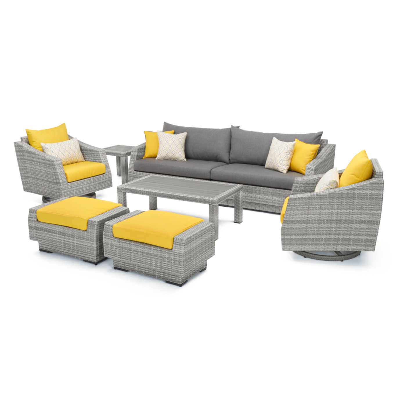 Cannes™ Deluxe 8pc Sofa & Club Chair Set - Sunflower Yellow