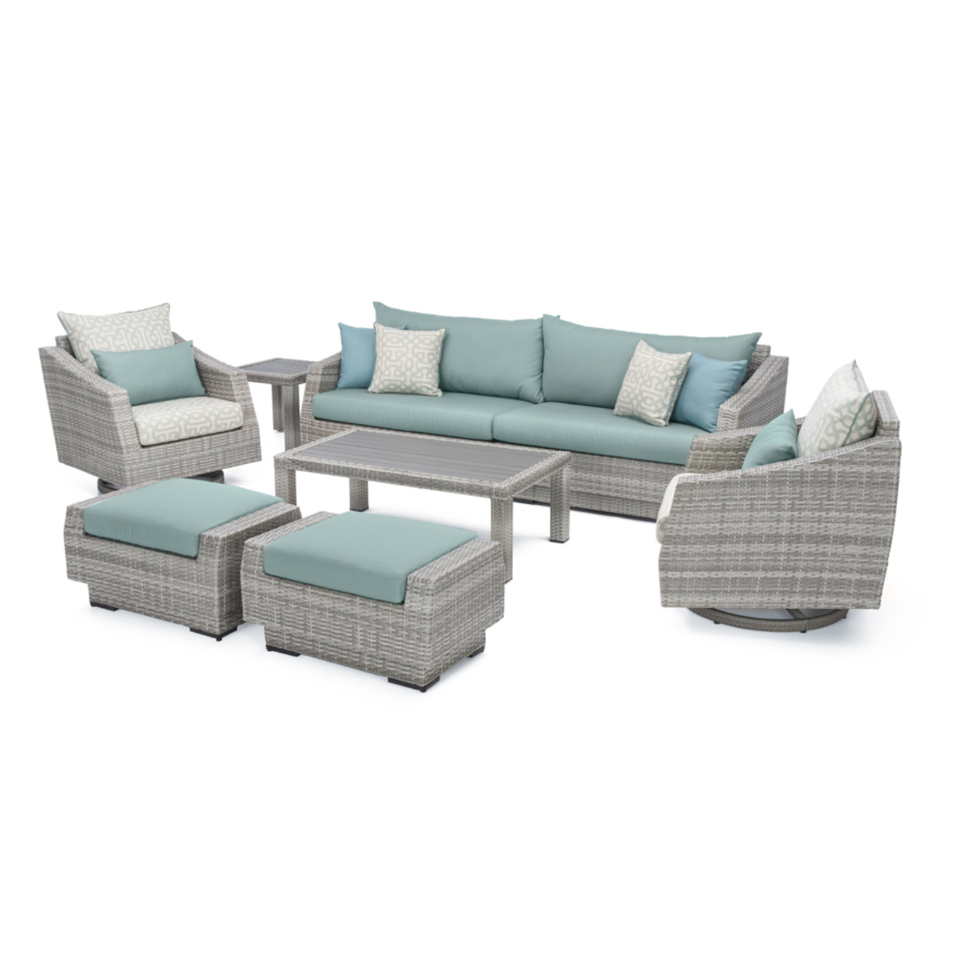 Cannes™ Deluxe 8pc Sofa & Motion Club Chair Set - Spa Blue