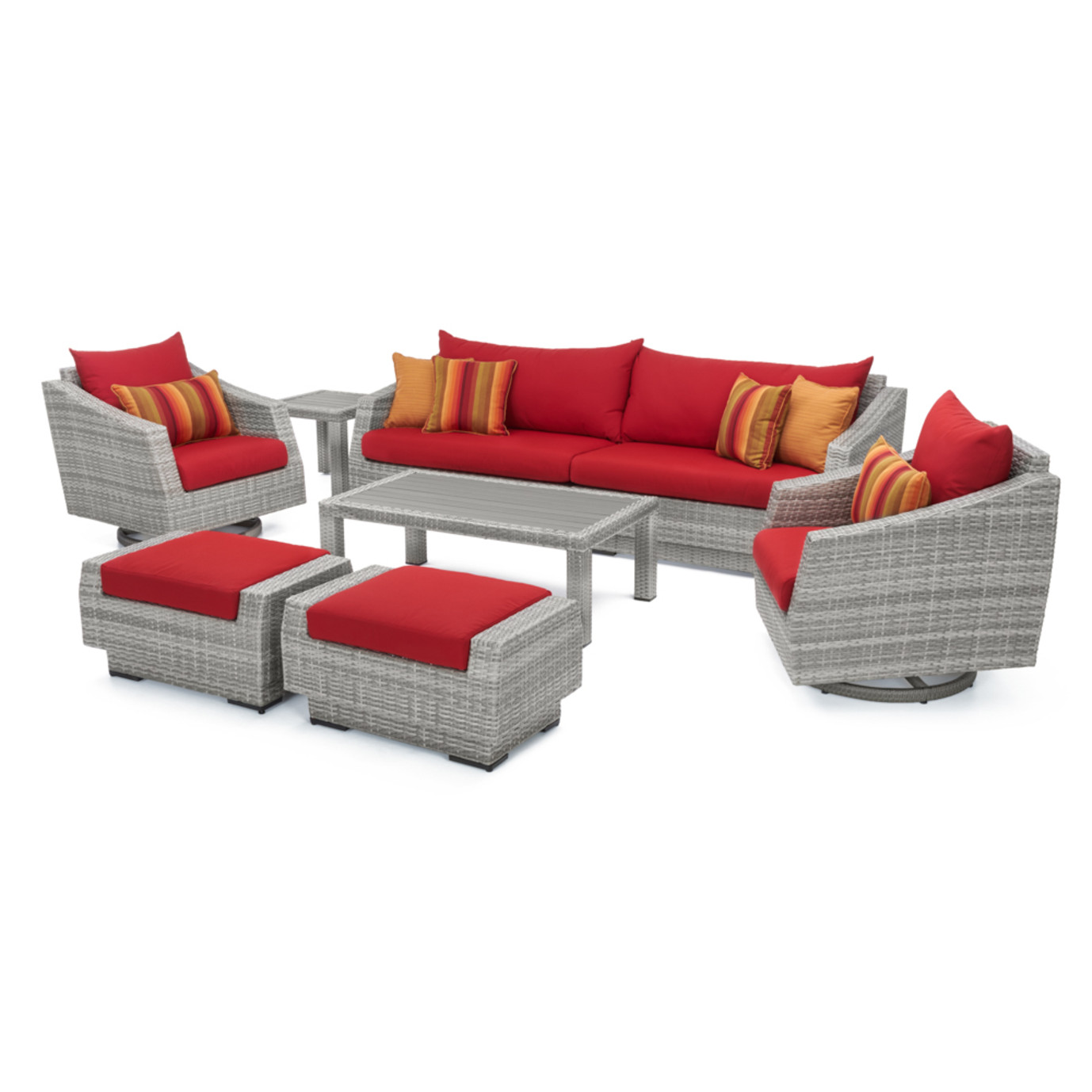 Cannes™ 8pc Deluxe Sofa & Club Chair Set - Sunset Red