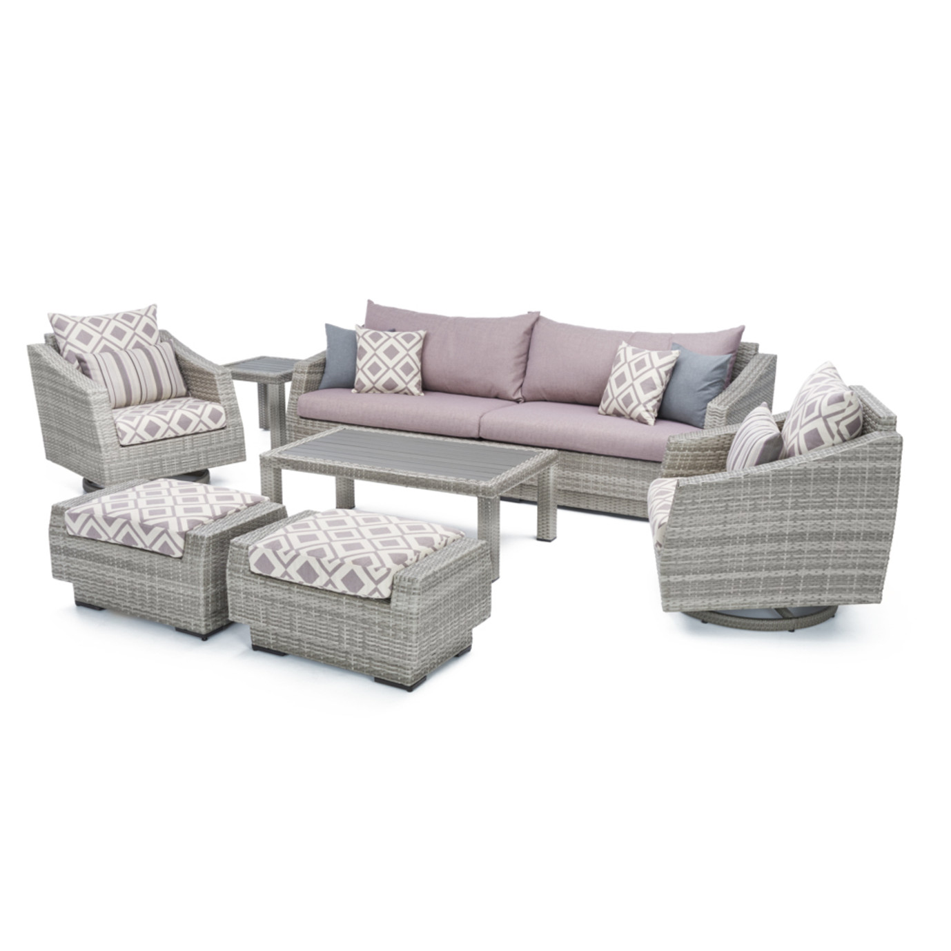Cannes™ 8pc Sofa & Club Chair Set - Wisteria Lavender Design