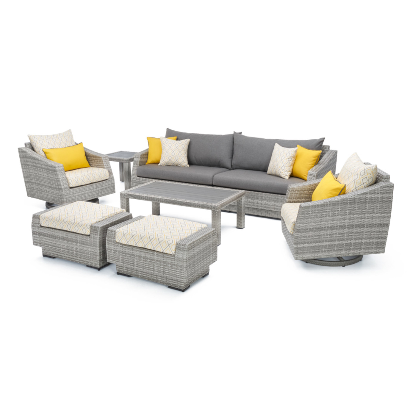 Cannes™ 8pc Sofa & Club Chair Set - Sunflower Yellow Design