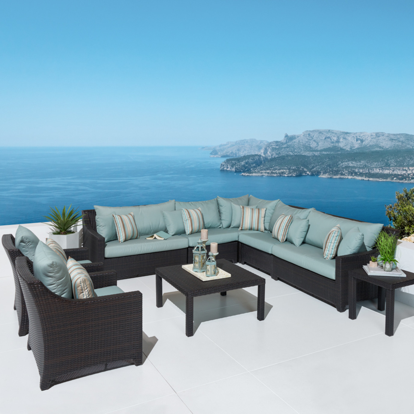 Deco™ 9pc Sectional and Club Set - Bliss Blue
