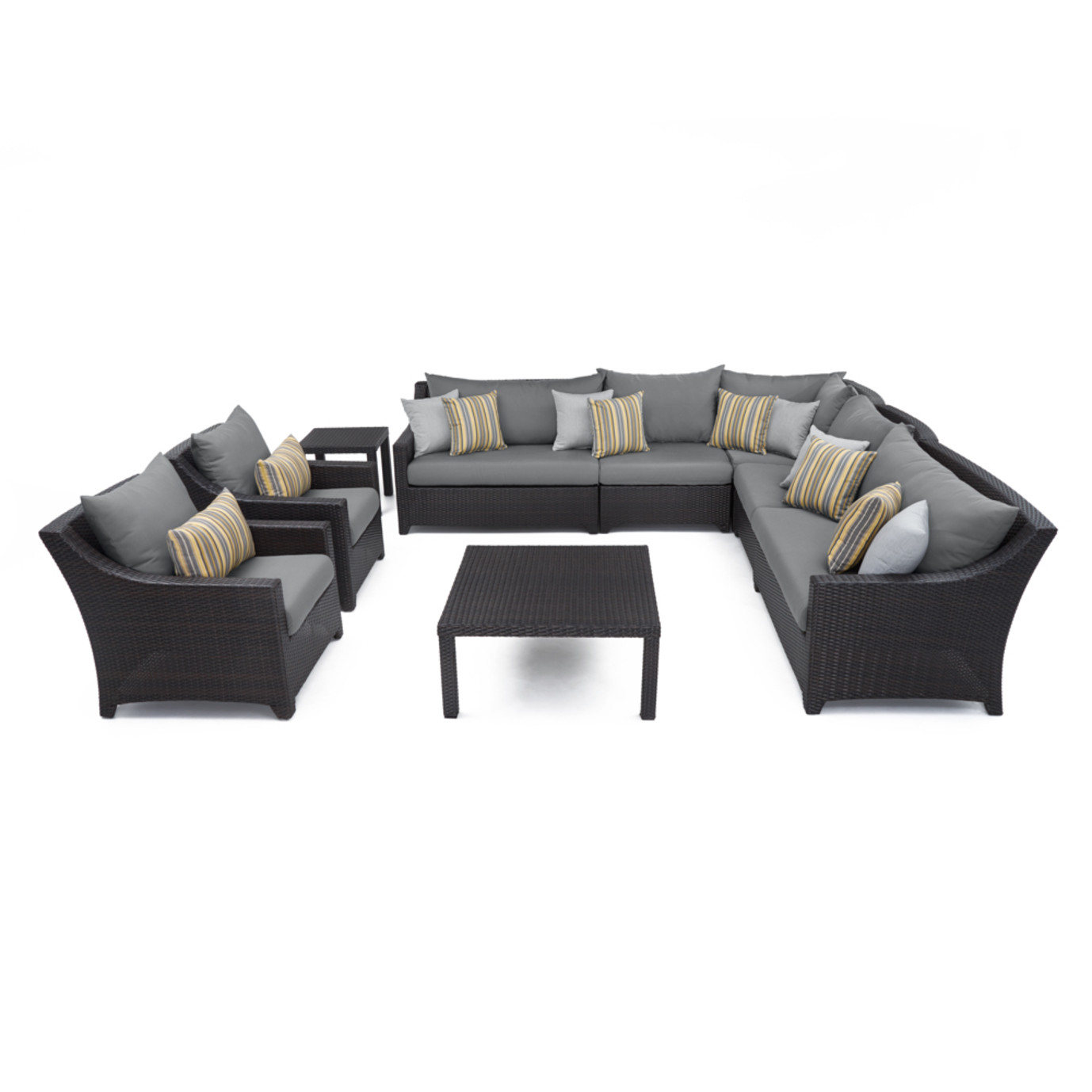 Deco™ 9pc Sectional and Club Set - Charcoal Gray