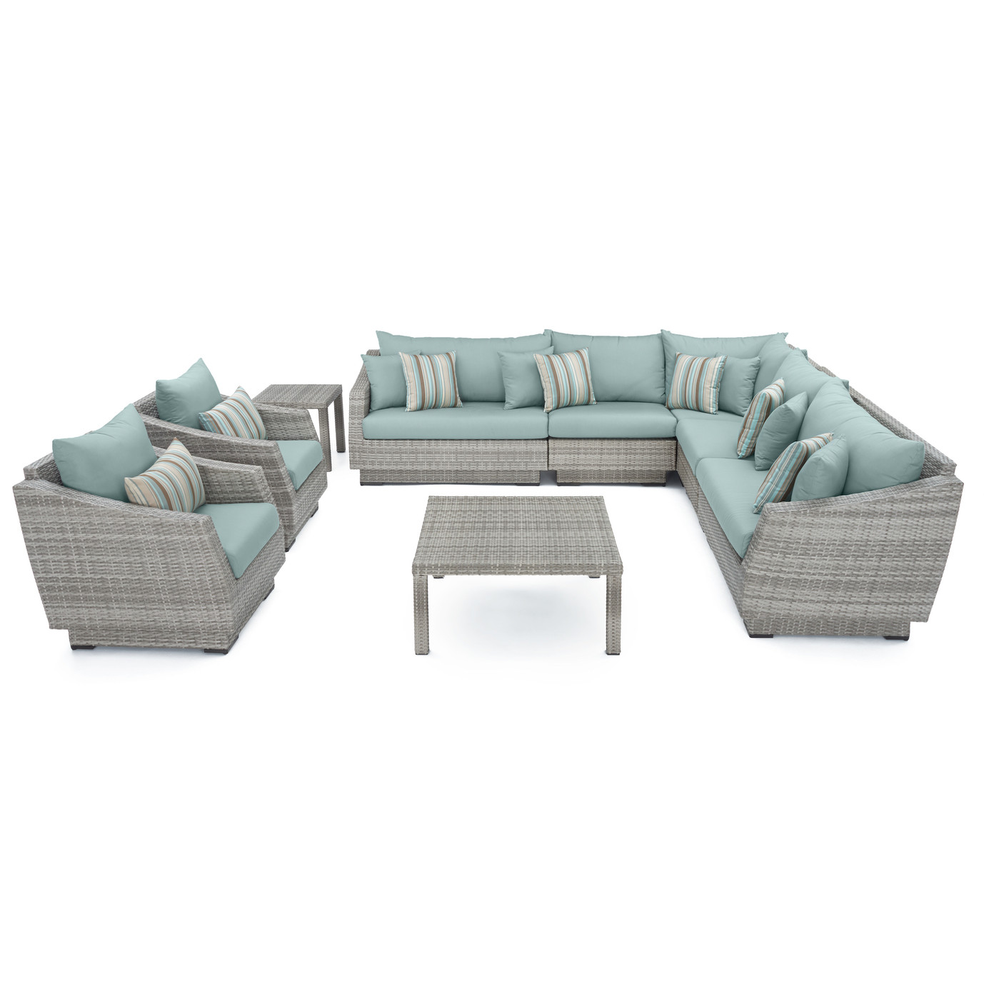 Cannes™ 9pc Sectional and Table - Bliss Blue