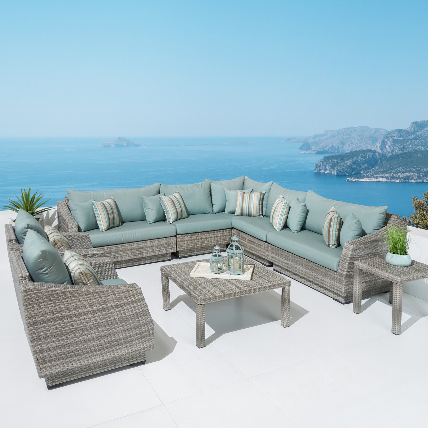 Cannes™ 9 Piece Sectional and Table - Bliss Blue