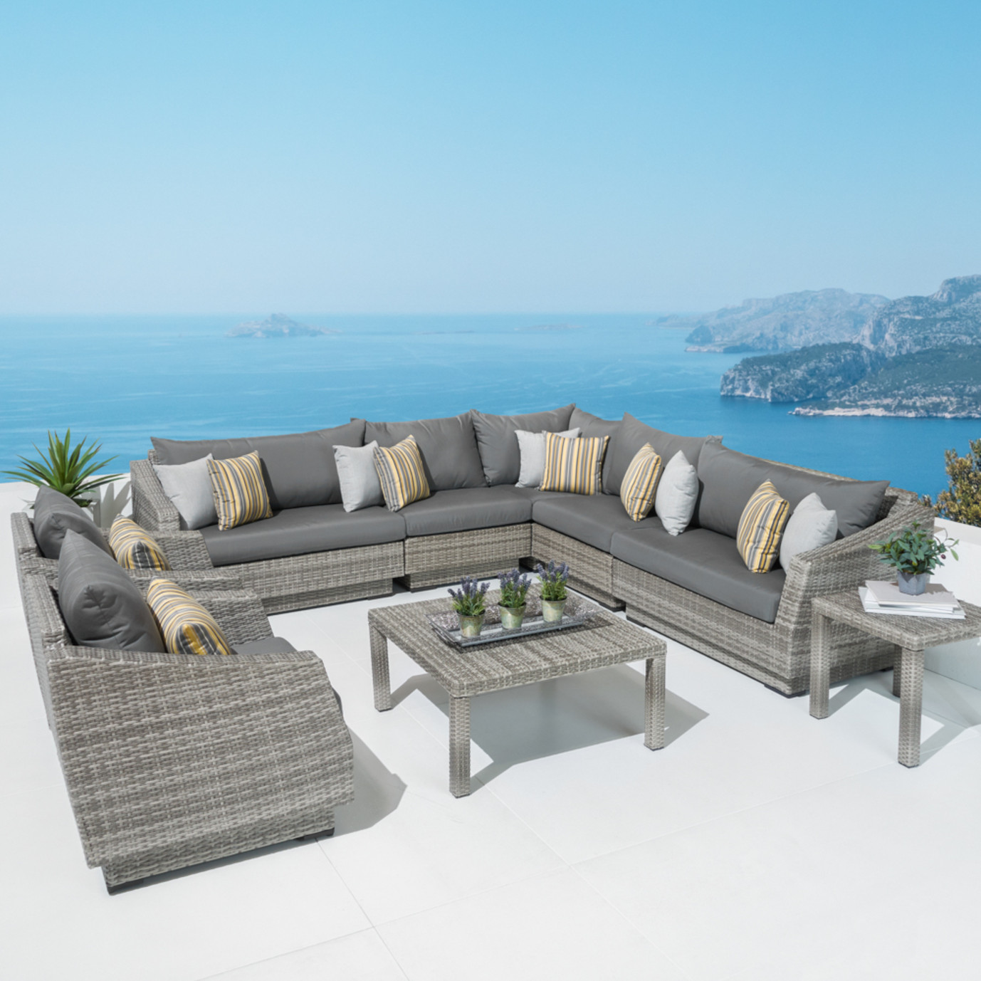 Cannes™ 9pc Sectional and Table - Charcoal Gray