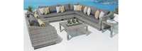 Cannes™ 9 Piece Sectional & Table - Cast Coral