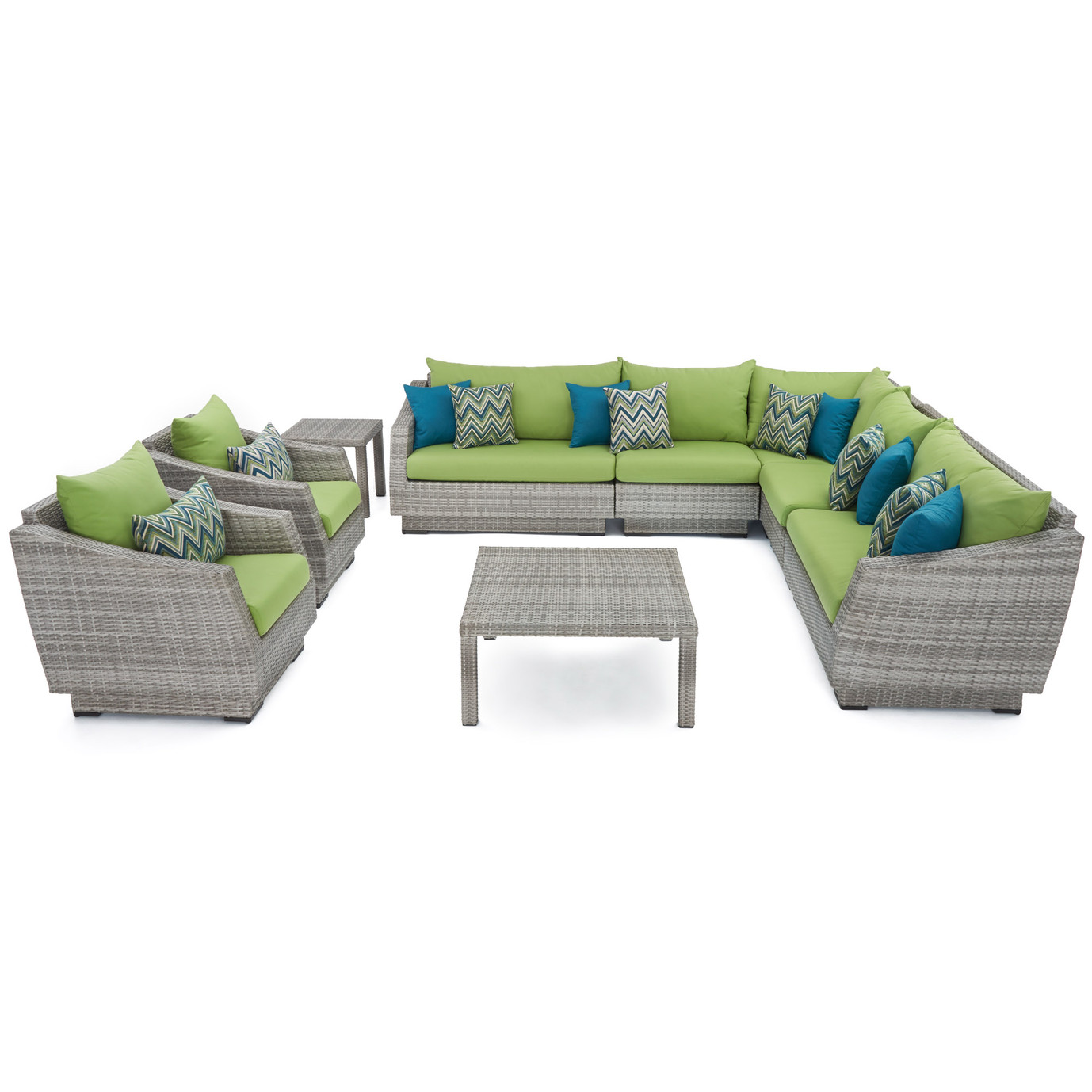 Cannes™ 9pc Sectional and Table - Ginkgo Green