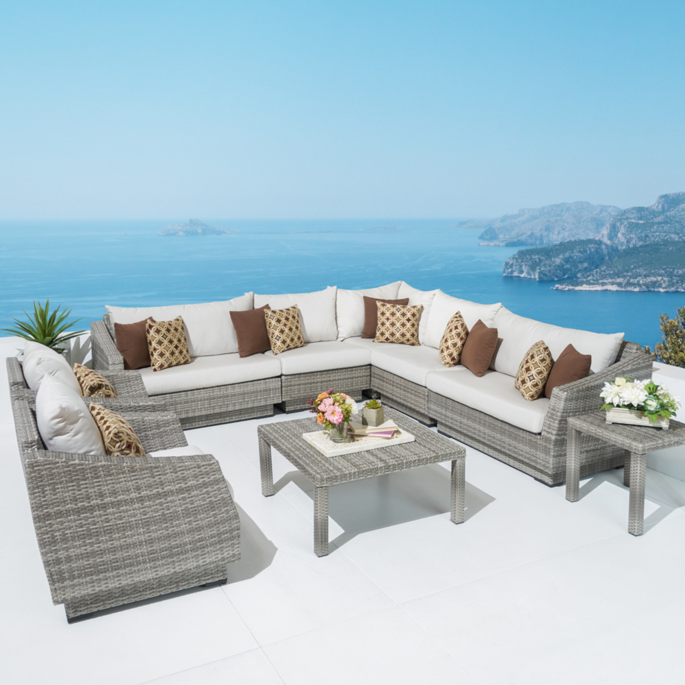 Cannes™ 9pc Sectional and Table - Moroccan Cream