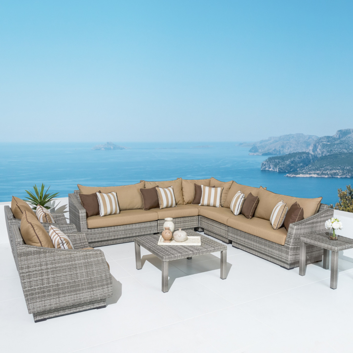 Cannes™ 9pc Sectional & Table - Maxim Beige