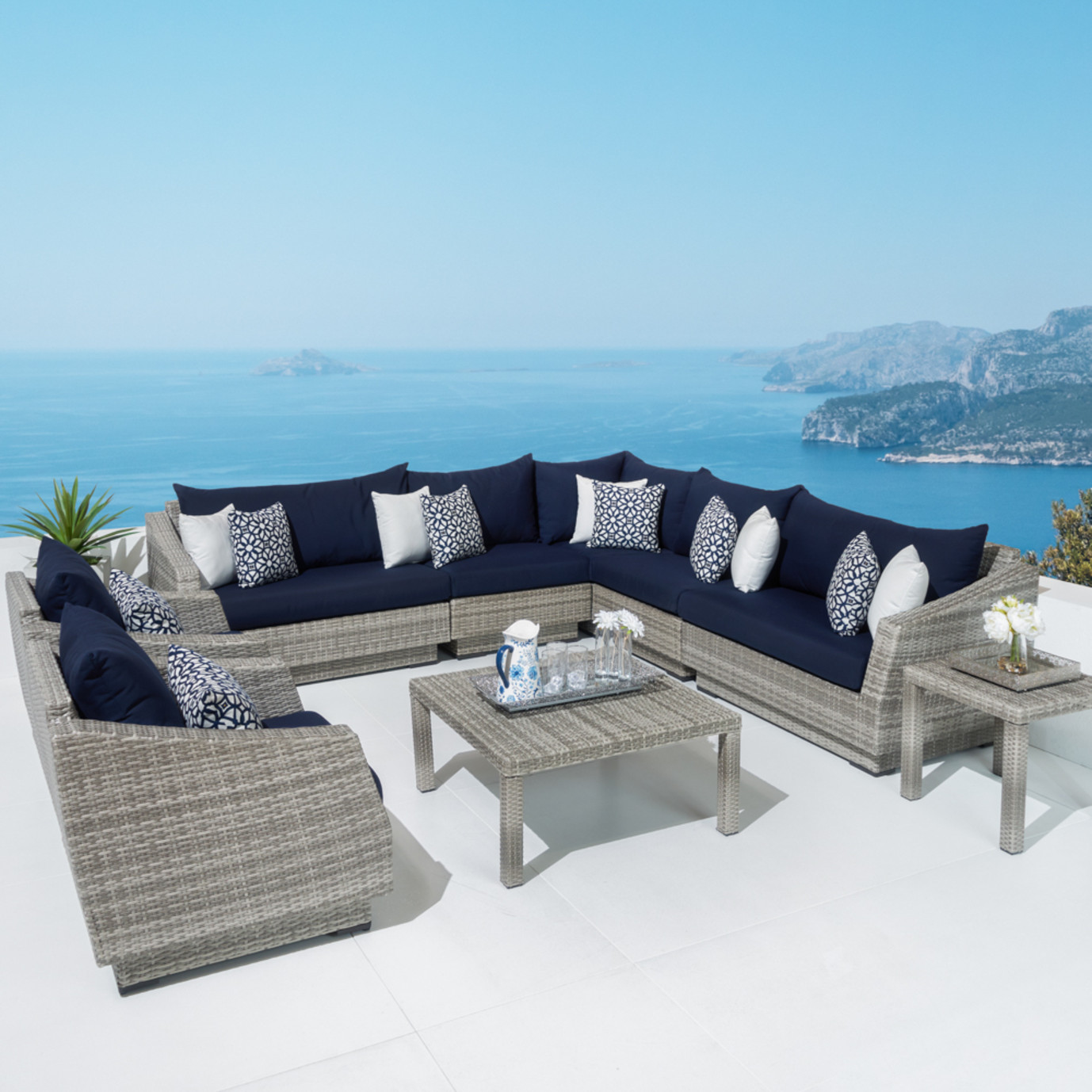 Cannes™ 9 Piece Sectional and Table - Navy Blue