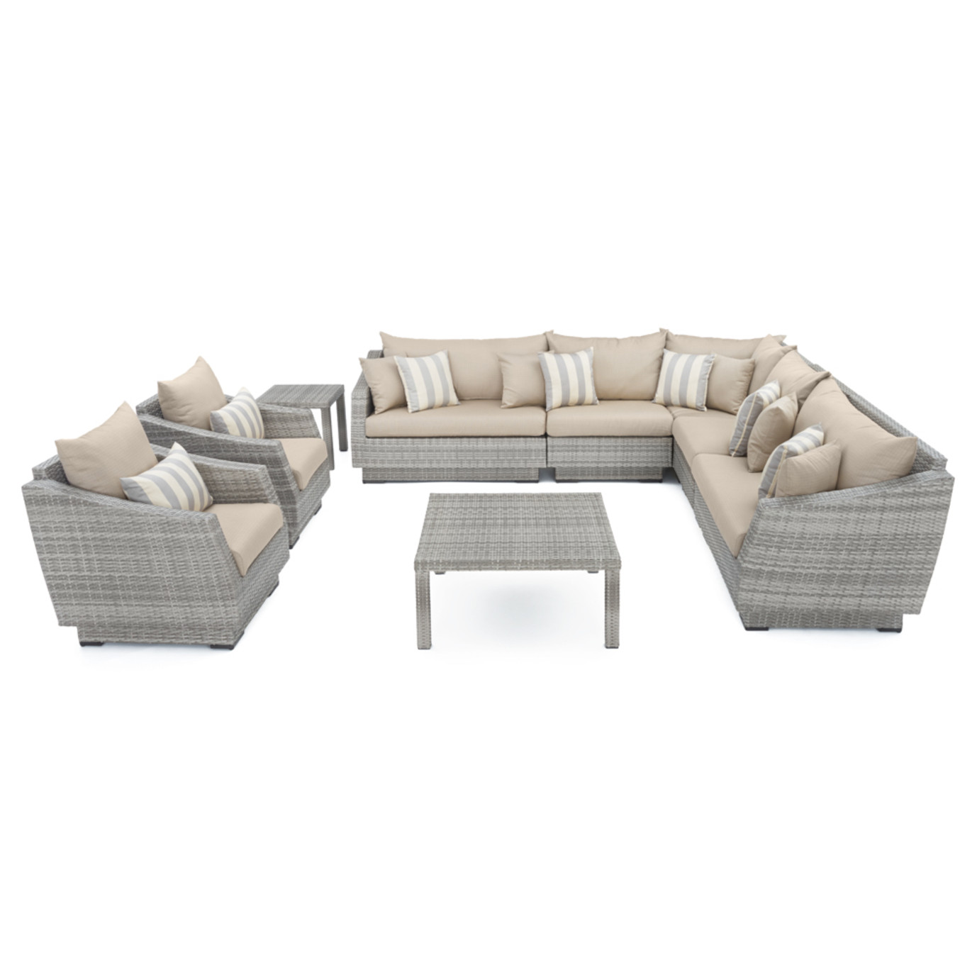 Cannes™ 9pc Sectional and Table - Slate Gray