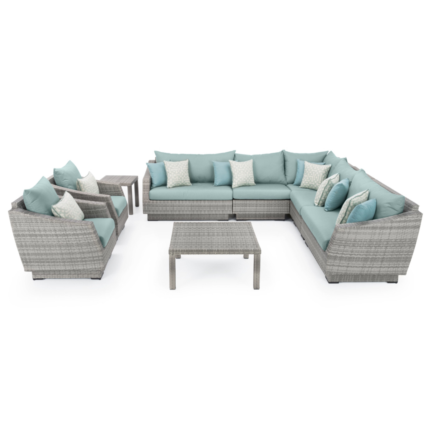 Cannes™ 9pc Sectional & Table - Spa Blue