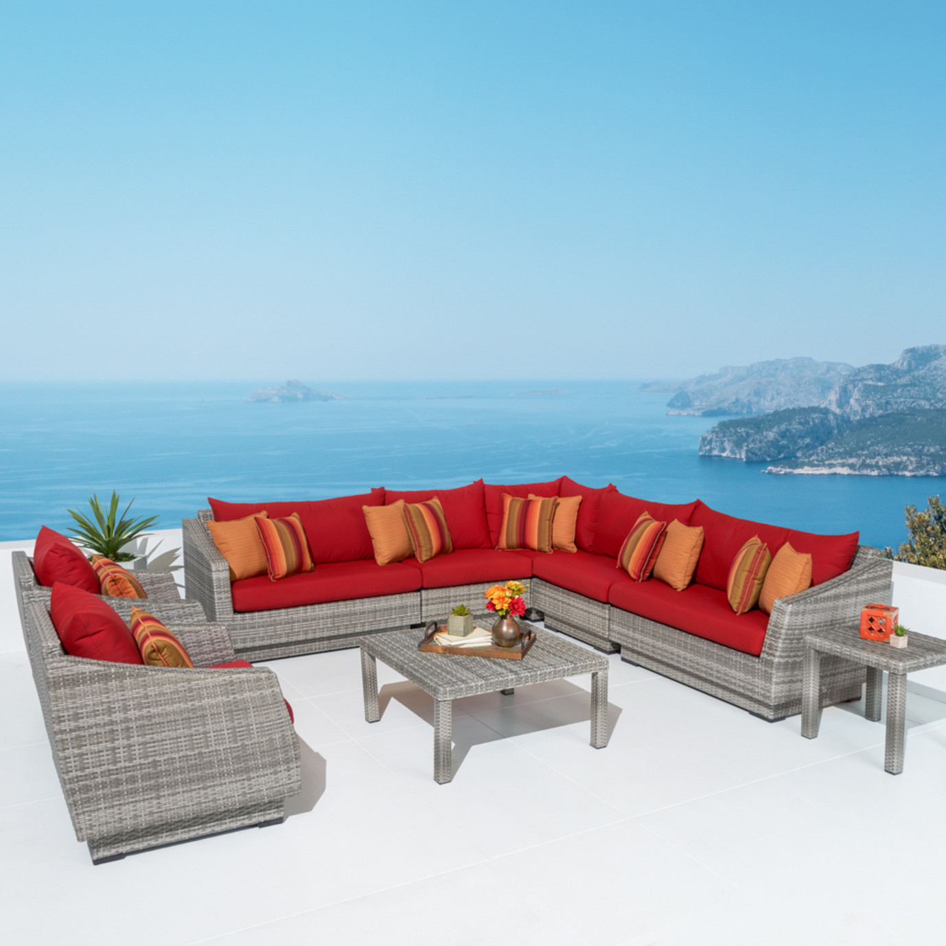Cannes™ 9pc Sectional & Table - Sunset Red
