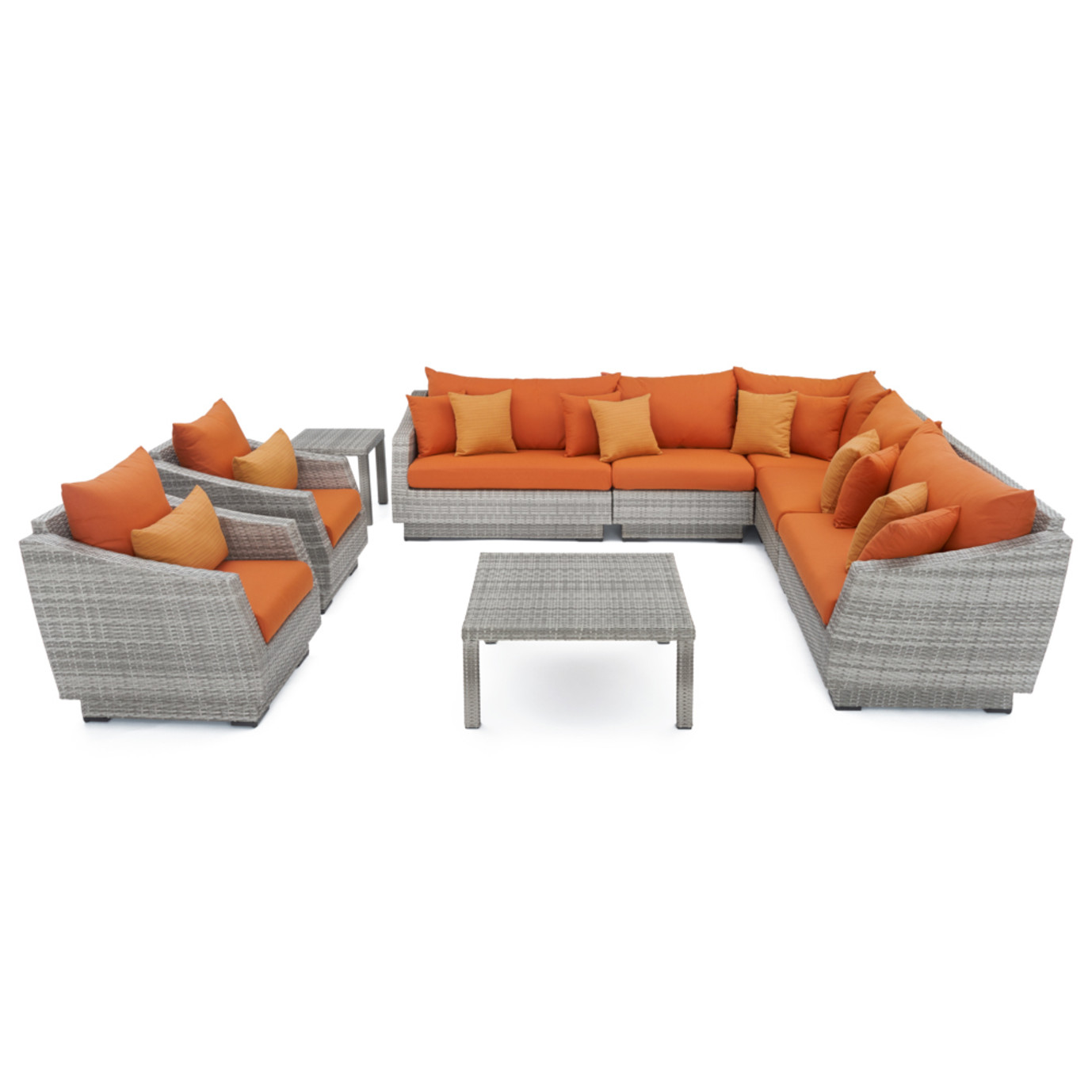 Cannes™ 9 Piece Sectional and Table - Tikka Orange