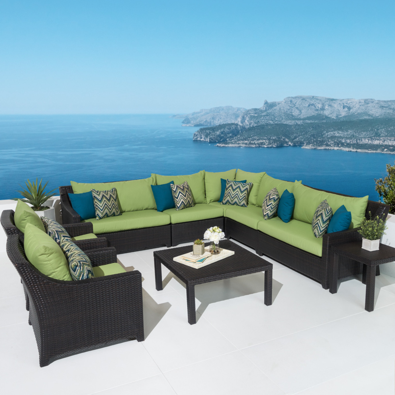 Deco™ 9 Piece Sectional and Club Set - Ginkgo Green