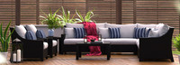 Deco™ 9 Piece Sectional and Club Set - Navy Blue