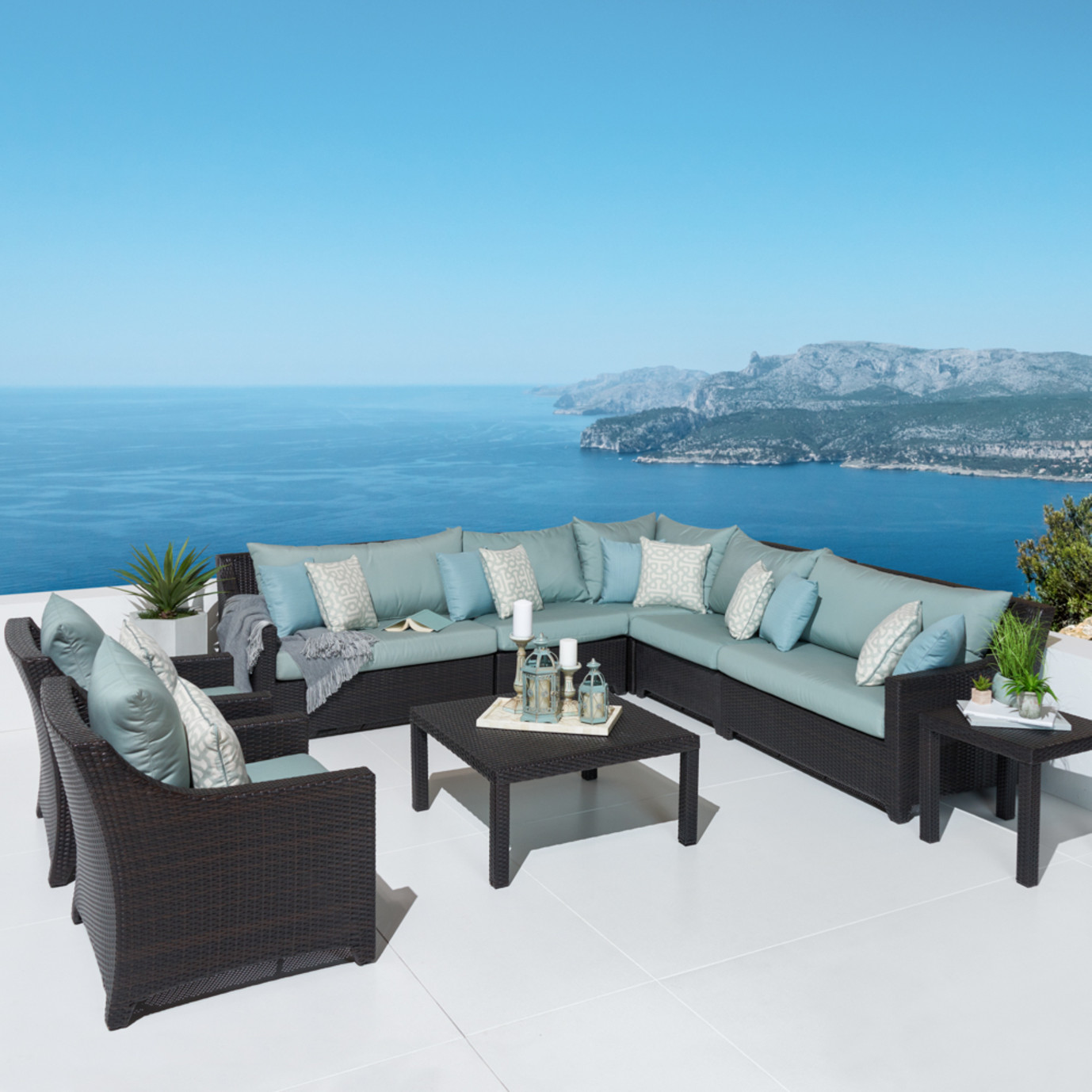 Deco™ 9pc Sectional and Club Set - Spa Blue