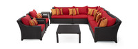 Deco™ 9 Piece Sectional and Club Set - Sunset Red