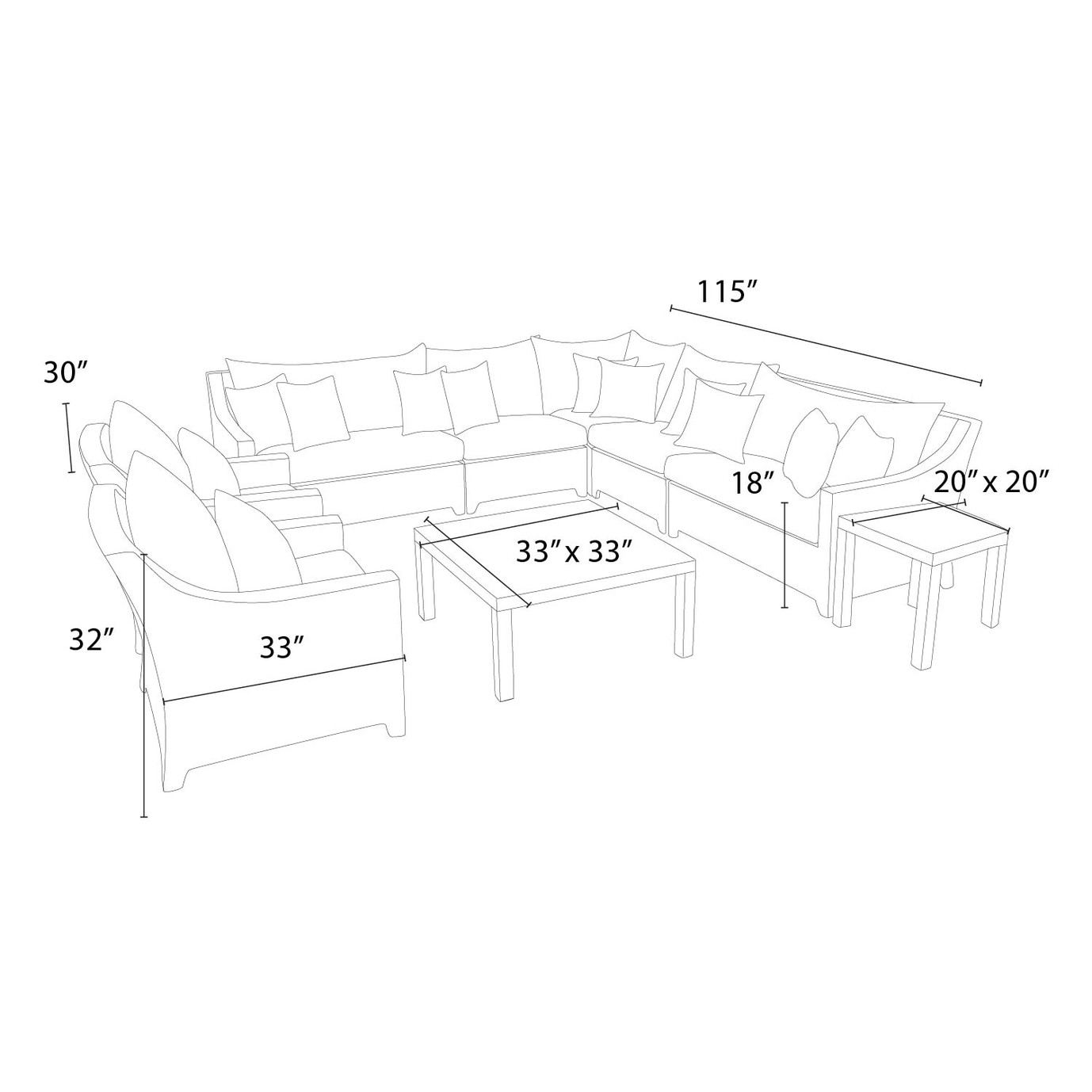 Deco™ 9pc Sectional and Club Set - Sunset Red