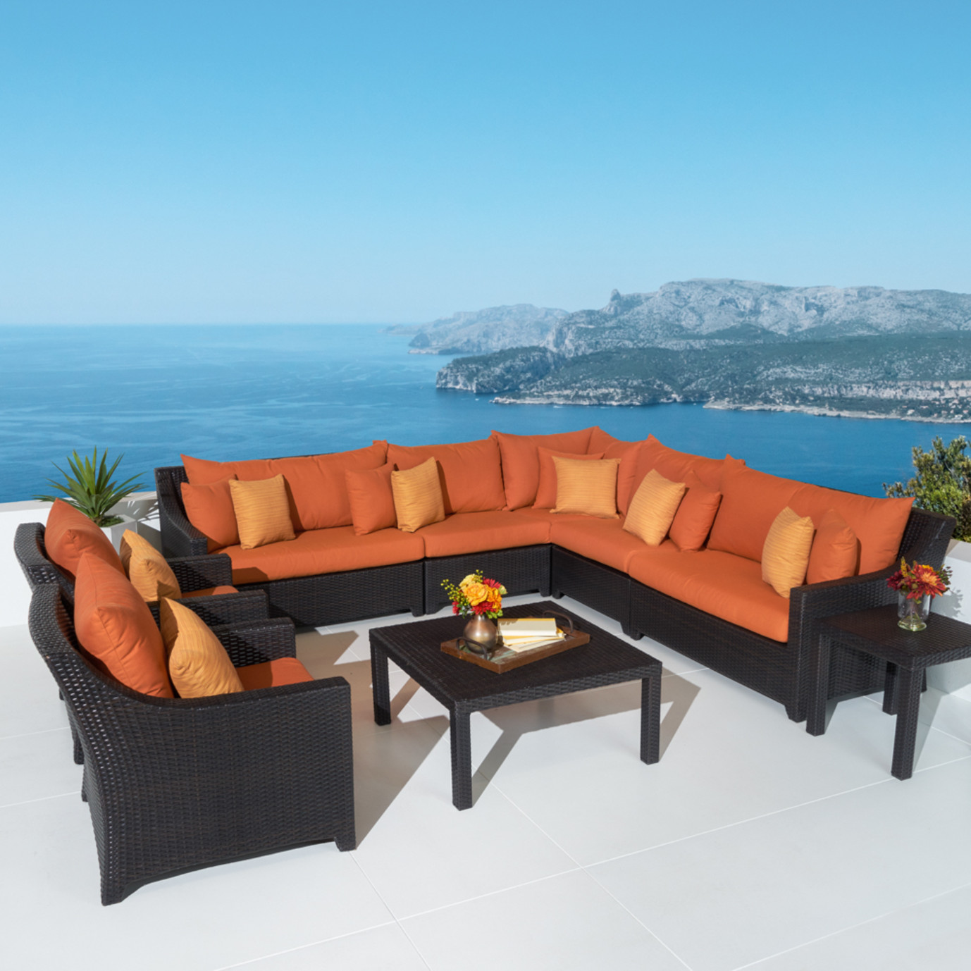 Deco™ 9 Piece Sectional and Club Set - Tikka Orange