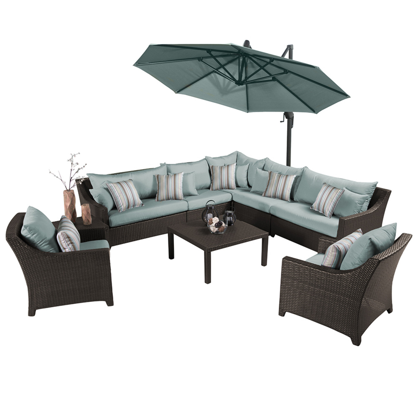 Deco™ 9 Piece Sectional and Club Set with Umbrella - Bliss Blue