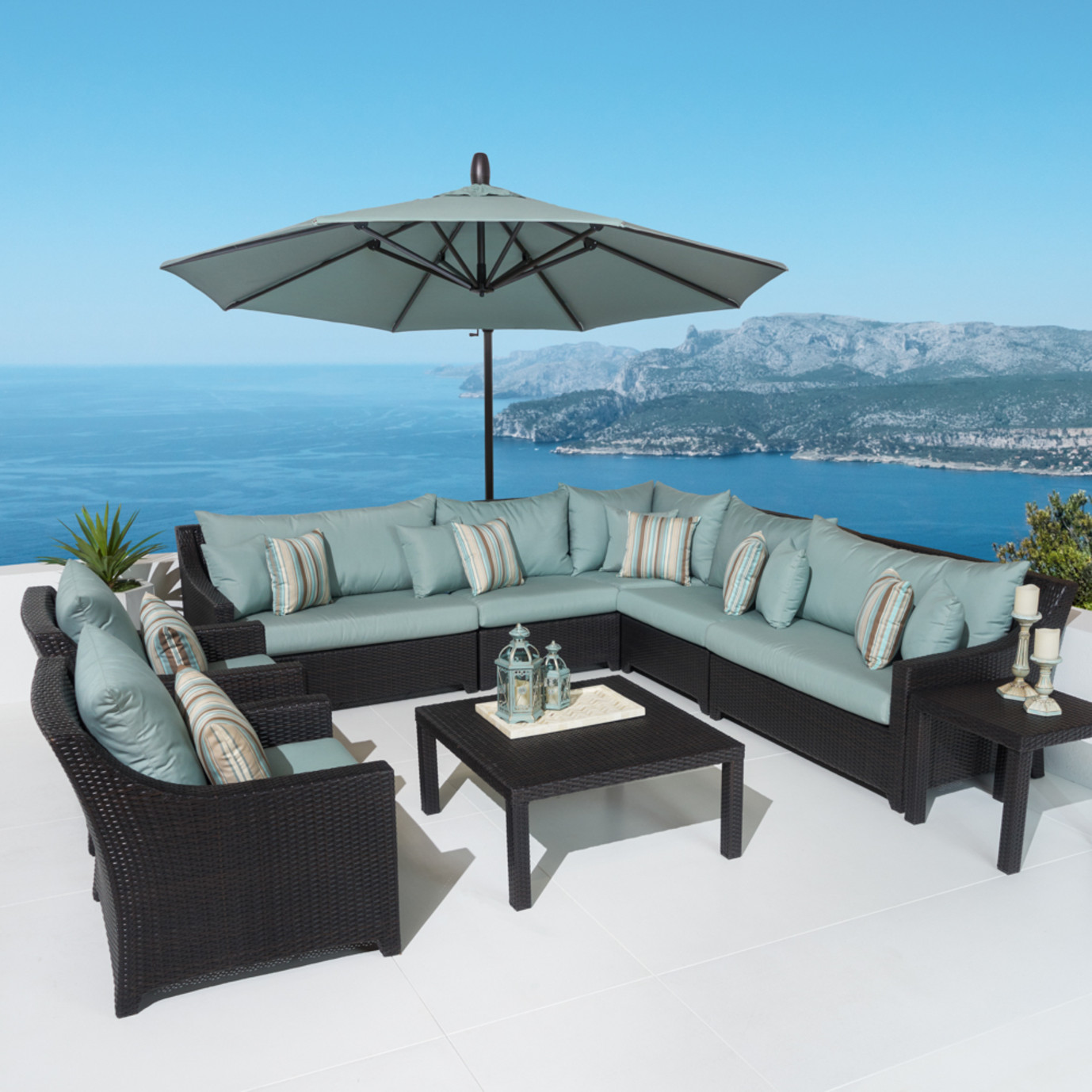 Deco™ 9pc Sectional and Club Set with Umbrella - Bliss Blue