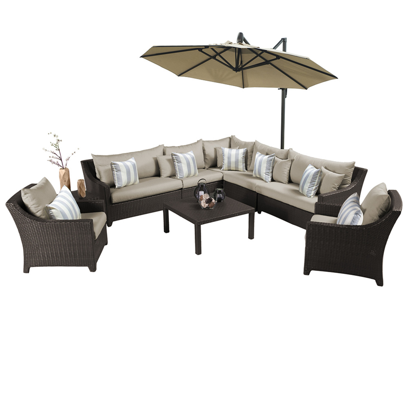 Deco™ 9pc Sectional and Club Set with Umbrella - Slate Grey
