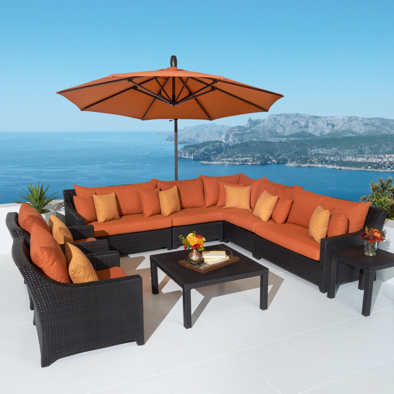 Deco™ 9 Piece Sectional and Club Set with Shade - Tikka Orange