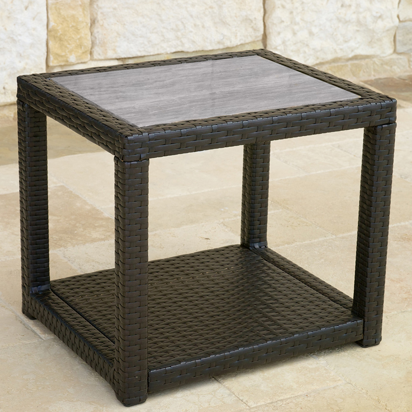 Portofino™ Comfort 22x18 Stone Top Side Table - Espresso Taupe