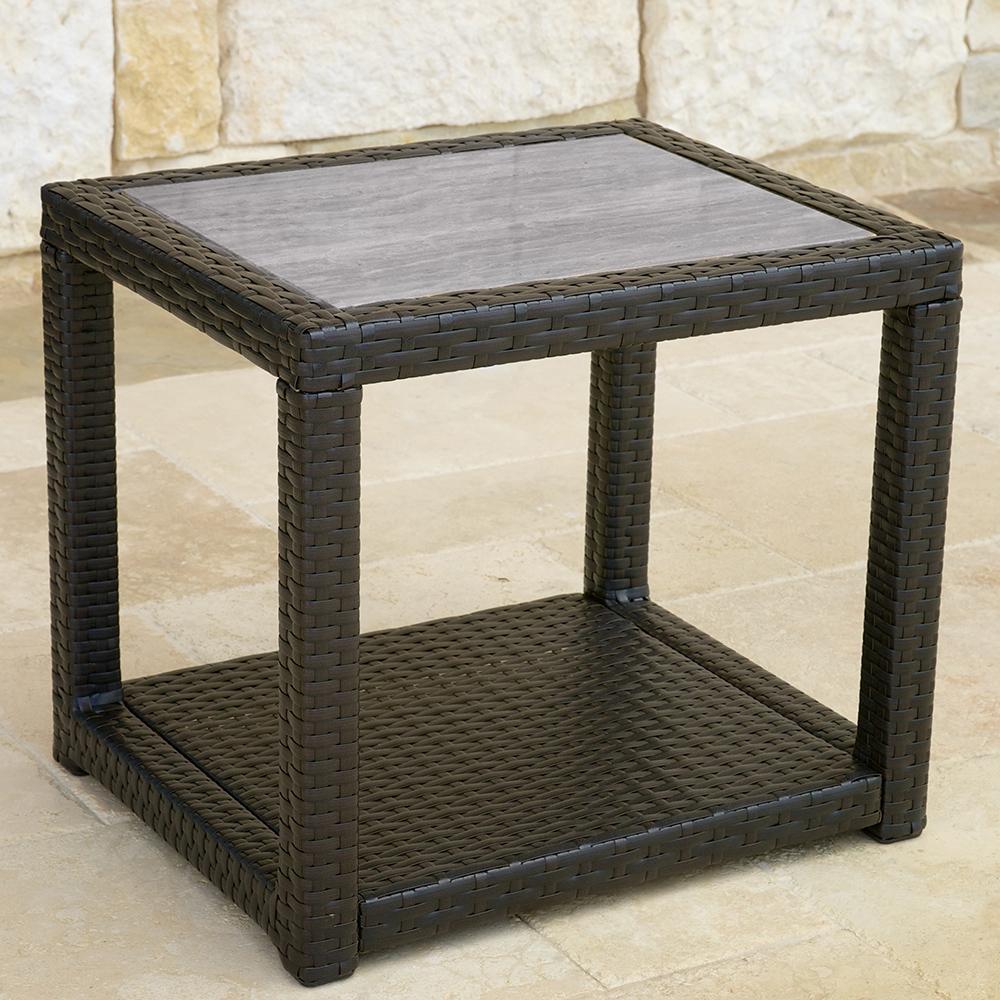 ... Portofino™ Comfort 22x18 Stone Top Side Table   Espresso Taupe ...