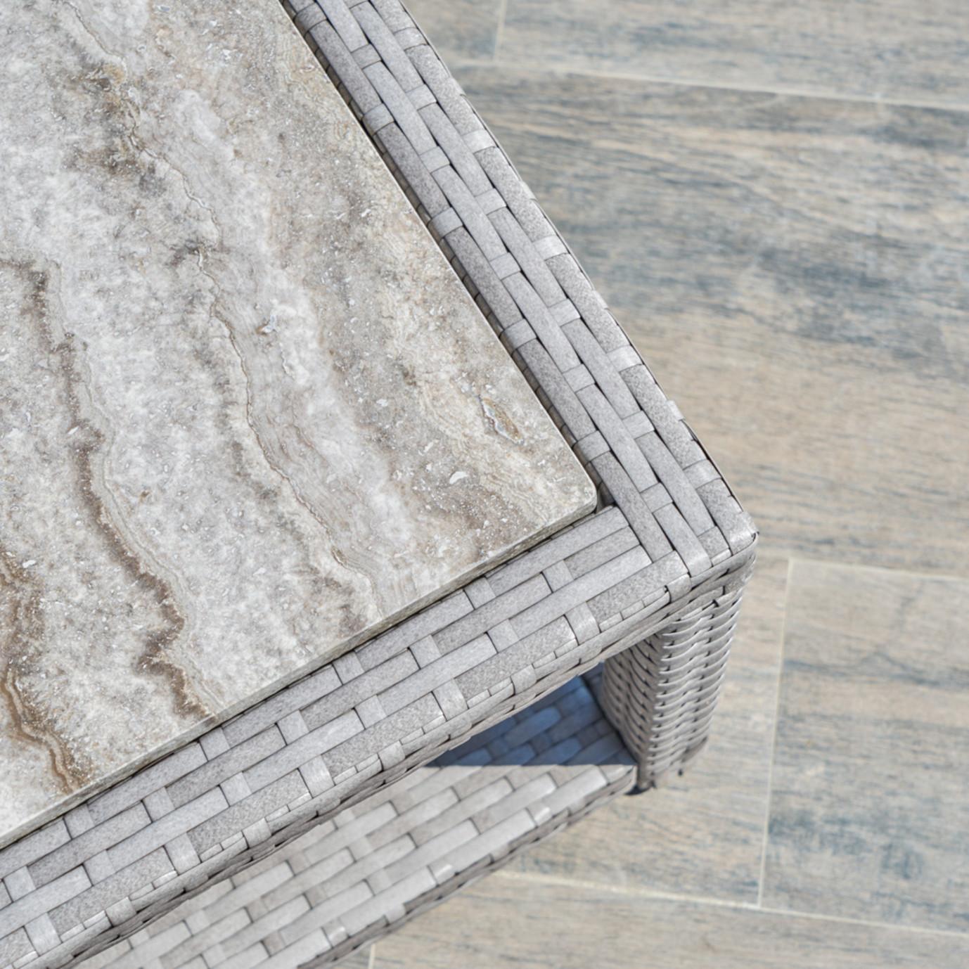Portofino™ Comfort 22x18 Stone Top Side Table - Grey