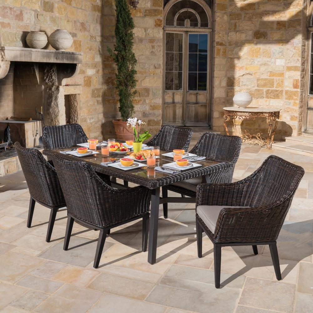 Resort Collection 7pc Dining Set in Espresso Frank Stone
