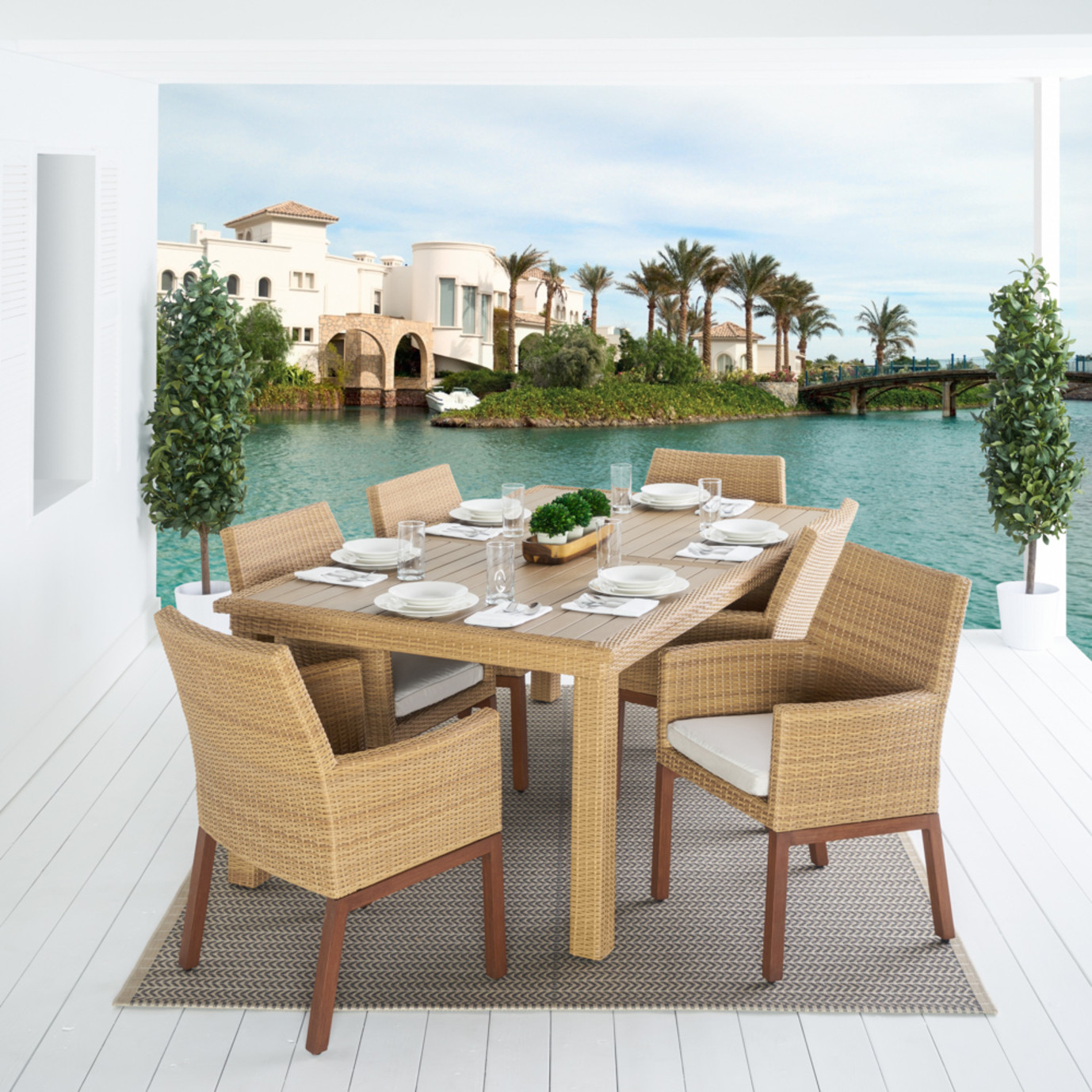 Mili™ 7 Piece Dining Set - Moroccan Cream