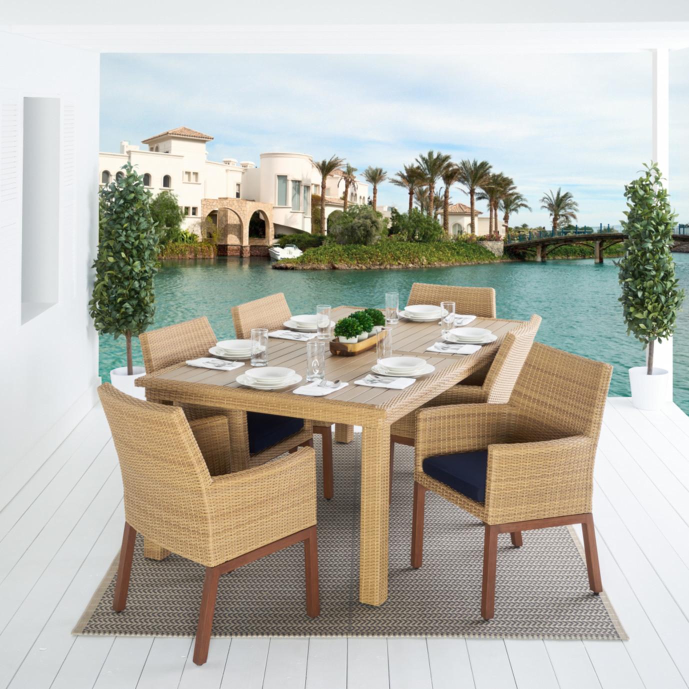 Mili™ 7 Piece Dining Set - Navy Blue