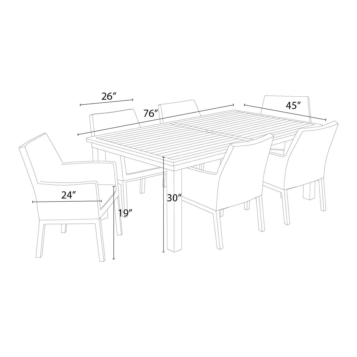 Milea™ 7pc Dining Set - Spa Blue