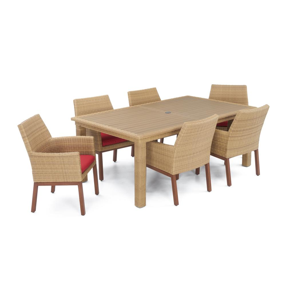 Milea Woven 7pc Dining Set - Sunset Red