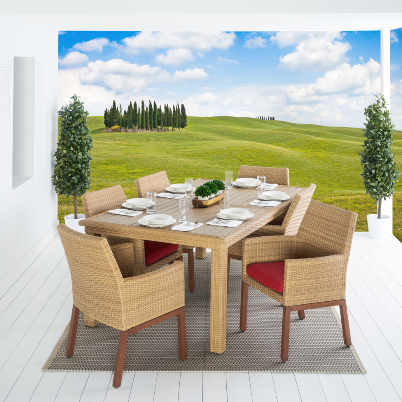 Mili™ 7 Piece Dining Set - Sunset Red