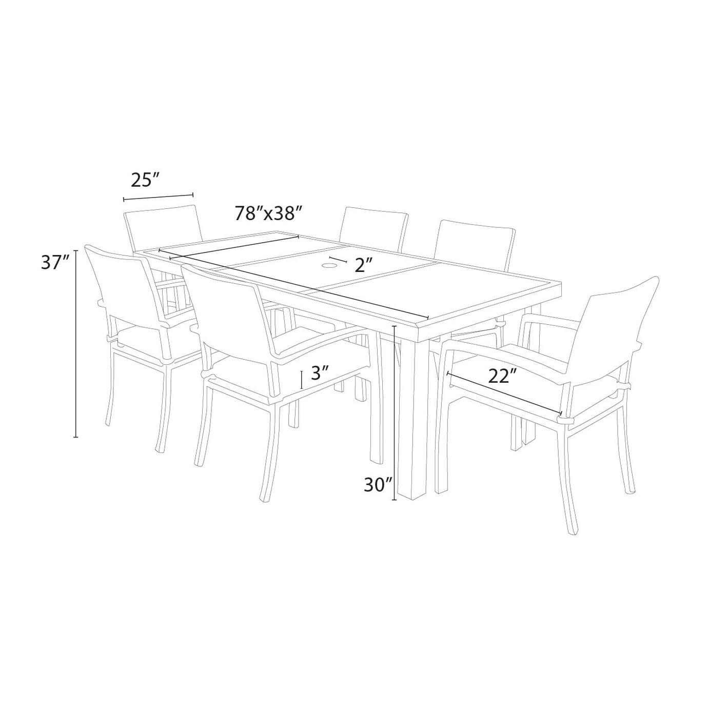 Portofino® Comfort 7pc Dining Set - Heather Beige