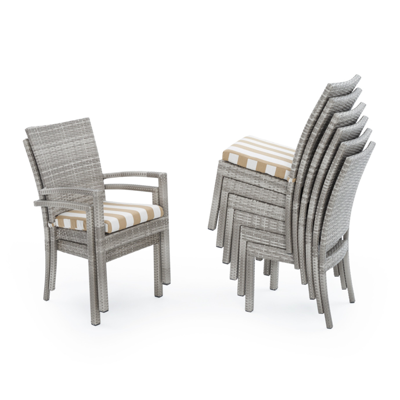 Cannes 9pc Dining Set Maxim Beige Stripe Rst Brands